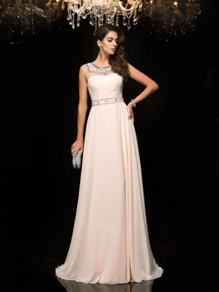 A-Line/Princess Scoop Sleeveless Chiffon Floor-Length Prom Dress with Beading