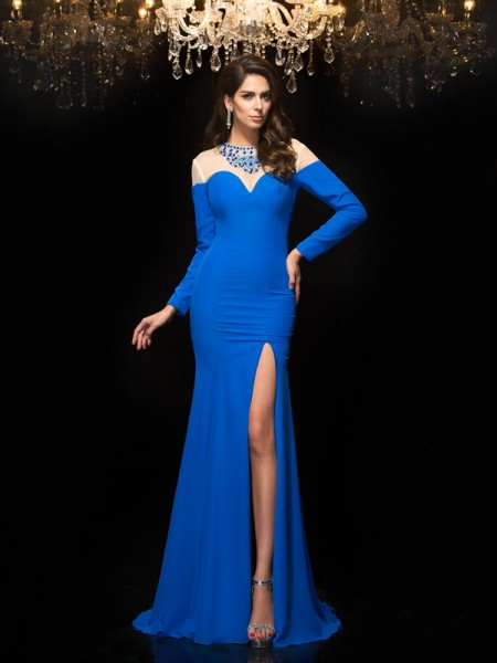 Sheath/Column Jewel Long Sleeves Chiffon Floor-Length Prom Dress with Beading