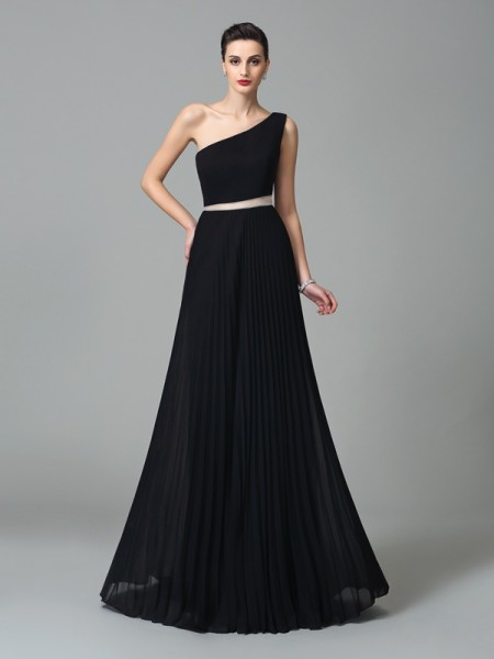 A-Line/Princess One-Shoulder Sleeveless Floor-Length Chiffon Prom Dress with Pleats