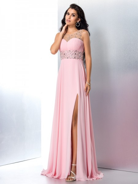 A-Line/Princess Sheer Neck Sleeveless Chiffon Sweep/Brush Train Prom Dress with Beading