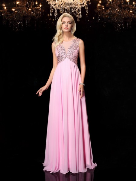 A-line/Princess Scoop Sleeveless Chiffon Long Prom Dress with Beading