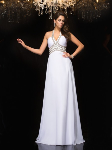 A-Line/Princess Sleeveless Halter Floor-Length Chiffon Prom Dress