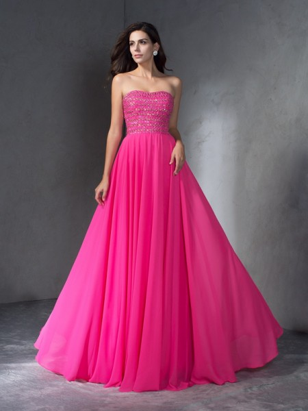 A-Line Chiffon Sweep/Brush Train Prom Dress with Beading