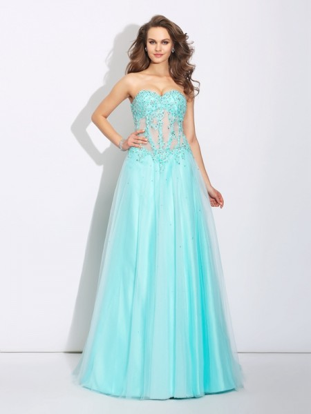 A-Line/Princess Sweetheart Sleeveless Sweep/Brush Train Net Prom Dress with Lace