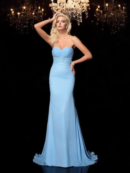 Trumpet/Mermaid Sleeveless Sweetheart Sweep/Brush Train Chiffon Prom Dress with Rhinestone