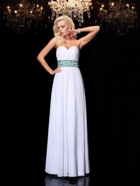 A-line/Princess Sleeveless Floor-Length Sweetheart Chiffon Prom Dress with Rhinestone