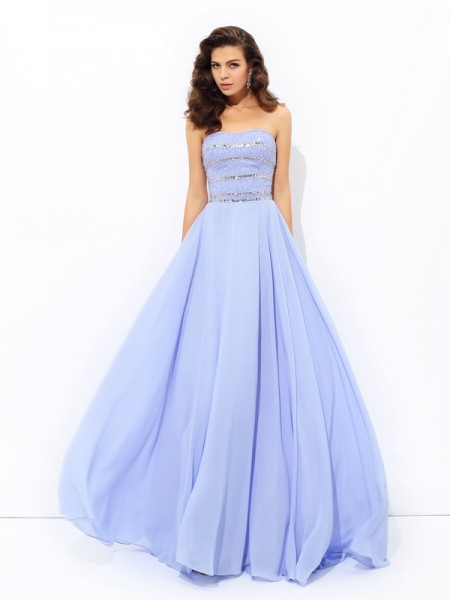 A-Line/Princess Strapless Sleeveless Sweep/Brush Train Chiffon Prom Dress with Beading