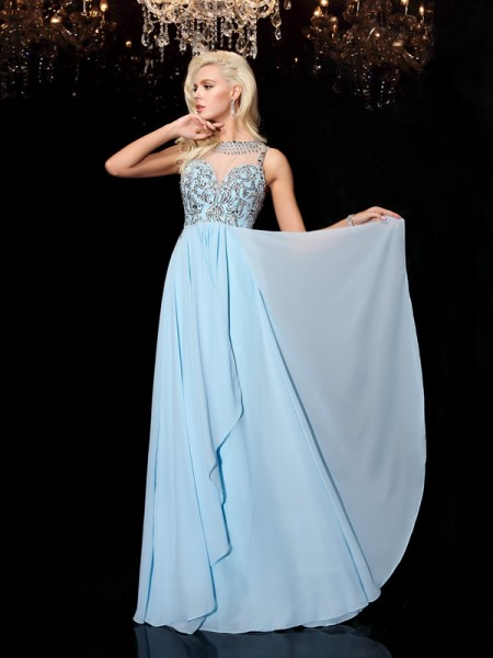A-line/Princess Scoop Sleeveless Floor-Length Chiffon Prom Dress with Beading