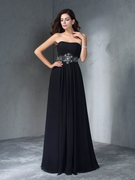 A-Line/Princess Strapless Sleeveless Chiffon Floor-Length Prom Dress with Beading