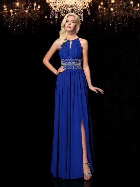 A-line/Princess Jewel Sleeveless Floor-Length Chiffon Prom Dress with Beading