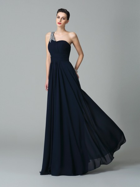 A-Line/Princess One-Shoulder Sleeveless Floor-Length Chiffon Prom Dress with Rhinestone
