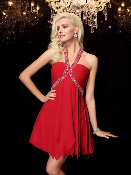 A-line/Princess Halter Sleeveless Short/Mini Chiffon Prom Dress with Beading