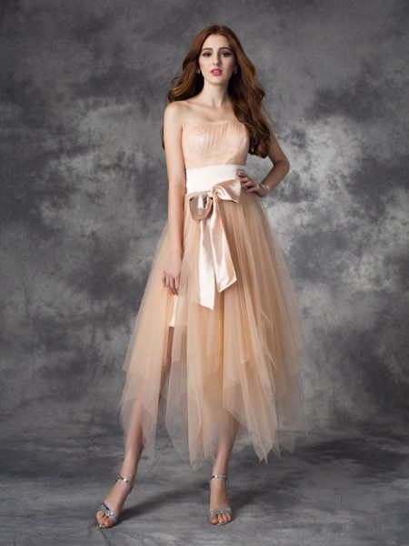 A-line/Princess Strapless Sleeveless Ankle-Length Elastic Woven Satin Prom Dress with Bowknot