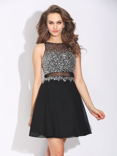 A-Line/Princess Sleeveless Jewel Short/Mini Chiffon Prom Dress with Beading