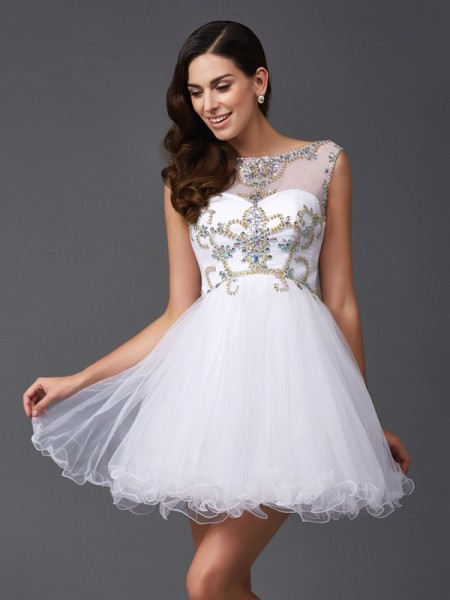 A-Line/Princess Scoop Sleeveless Short/Mini Net Prom Dress with Beading