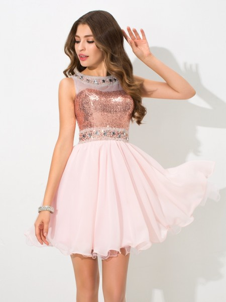 A-Line/Princess Sheer Neck Sleeveless Short/Mini Chiffon Cocktail Dress with Sequin