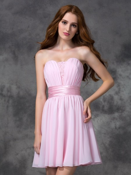 A-line/Princess Sweetheart Sleeveless Short/Mini Chiffon Prom Dress with Ruched