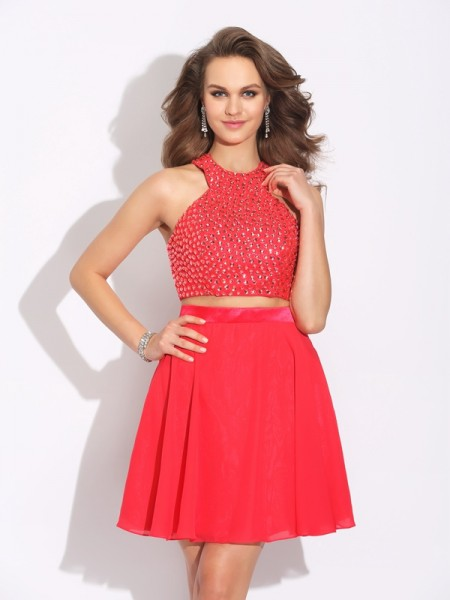 A-Line/Princess Sleeveless Jewel Short/Mini Two Piece Chiffon Prom Dress with Crystal