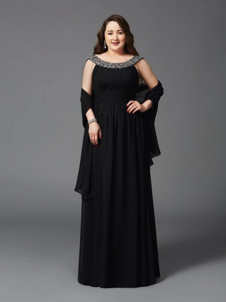 A-Line/Princess Scoop Sleeveless Floor-Length Chiffon Plus Size Prom Dress with Rhinestone