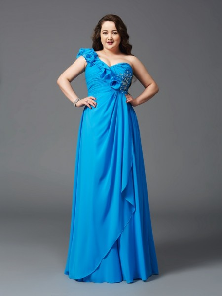 A-Line/Princess One-Shoulder Sleeveless Floor-Length Chiffon Plus Size Prom Dress with Rhinestone