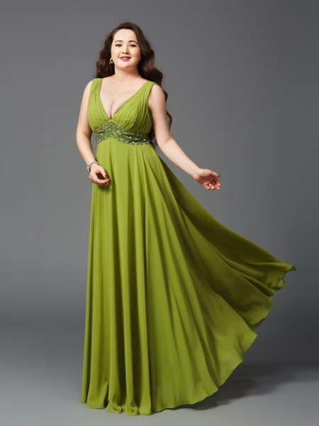 A-Line/Princess Straps Sleeveless Floor-Length Chiffon Plus Size Prom Dress with Rhinestone