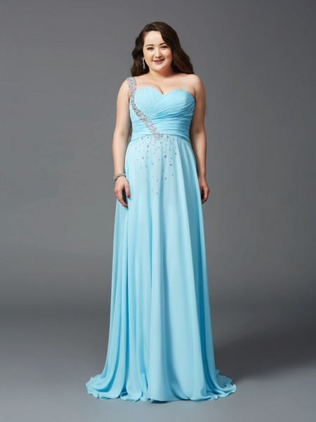 A-Line/Princess One-Shoulder Sweep/Brush Train Sleeveless Chiffon Plus Size Prom Dress with Rhinestone