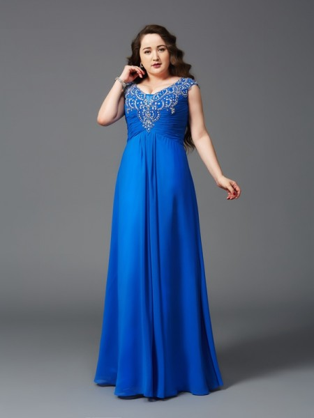 A-Line/Princess Straps Floor-Length Short Sleeves Chiffon Plus Size Prom Dress with Beading