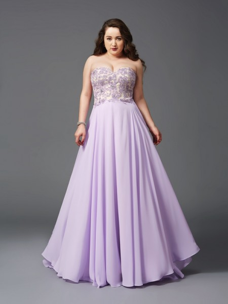 A-Line/Princess Sweetheart Sweep/Brush Train Sleeveless Chiffon Plus Size Prom Dress with Lace