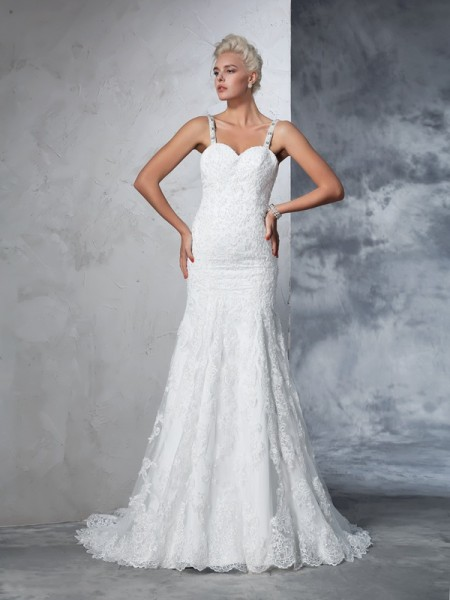Trumpet/Mermaid Spaghetti Straps Sleeveless Chapel Train Wedding Dress with Lace