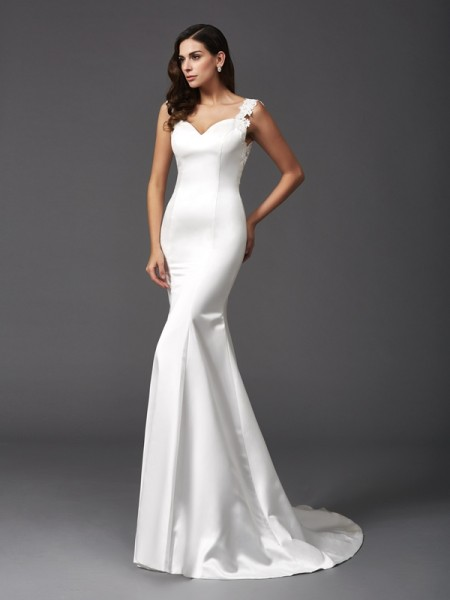 Trumpet/Mermaid Straps Sleeveless Sweep/Brush Train Satin Wedding Dress