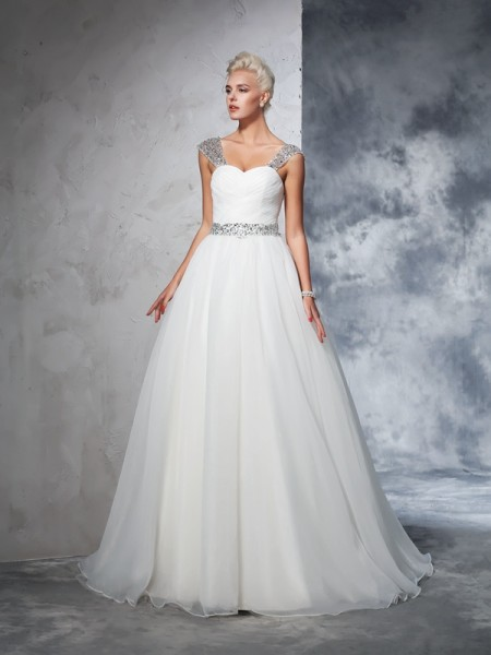Ball Gown Sleeveless Straps Net Chapel Train Wedding Dress with Ruched