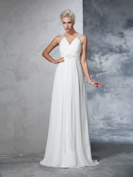 A-Line/Princess Sleeveless V-neck Chiffon Sweep/Brush Train Wedding Dress with Ruched