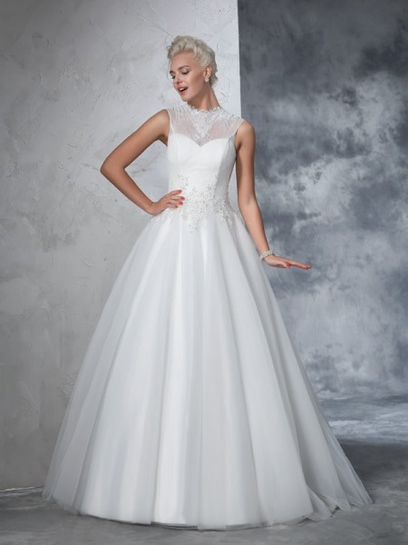 Ball Gown Sleeveless High Neck Net Floor-Length Dress with Appliquees
