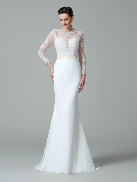 Trumpet/Mermaid Jewel Long Sleeves Sweep/Brush Train Satin Wedding Dress with Lace