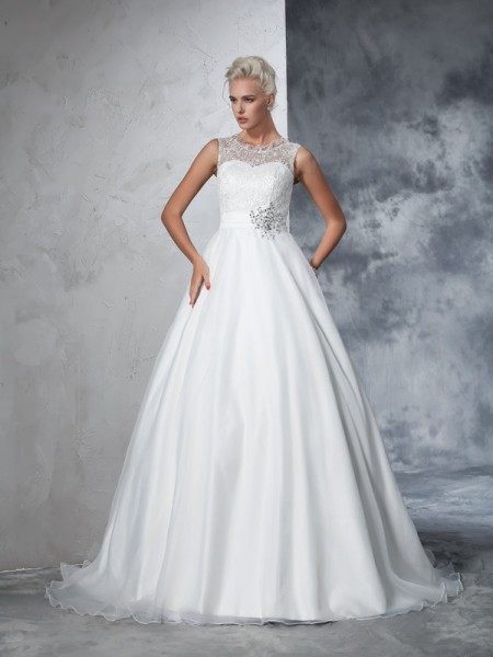 Ball Gown Sleeveless Sheer Neck Net Chapel Train Wedding Dress with Lace