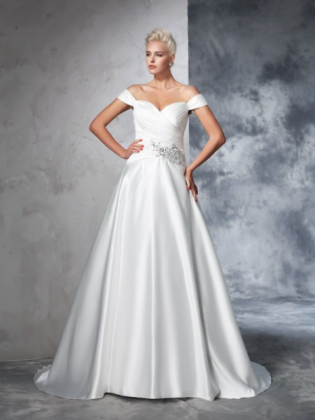 Ball Gown Sleeveless Taffeta Off-the-Shoulder Chapel Train Wedding Dress with Ruched