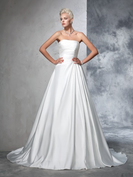 Ball Gown Strapless Satin Sleeveless Chapel Train Wedding Dress with Ruched