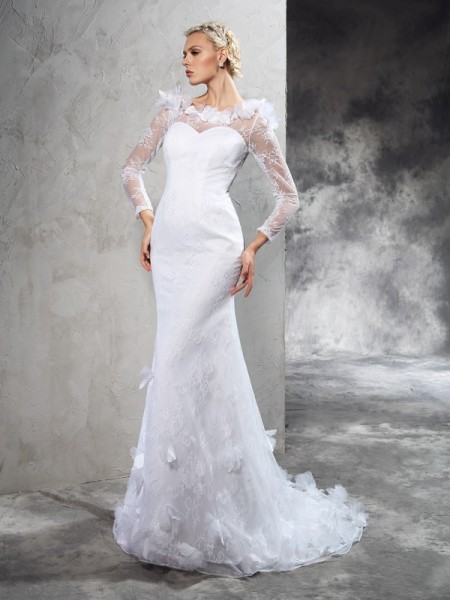 Sheath/Column Sheer Neck Long Sleeves Court Train Satin Wedding Dress with Hand-Made Flower