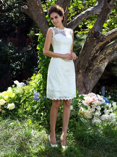 A-Line/Princess Sheer Neck Sleeveless Satin Knee-Length Wedding Dress with Applique