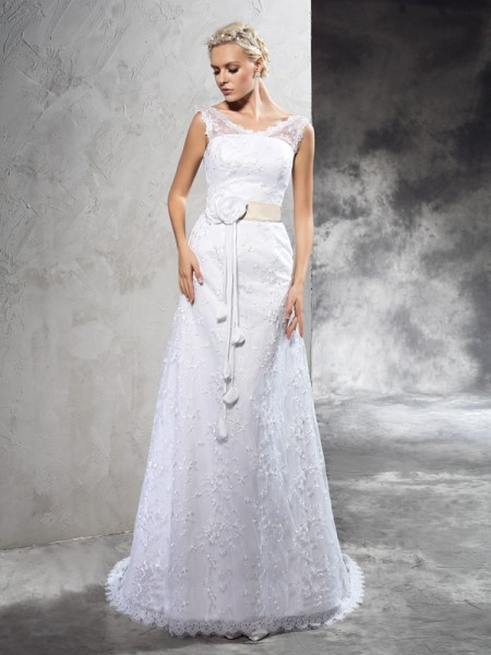 Sheath/Column Sheer Neck Sleeveless Court Train Satin Wedding Dress with Hand-Made Flower