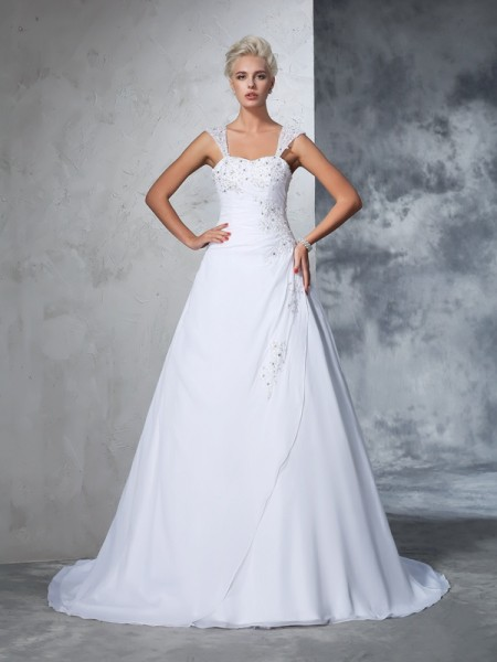 Ball Gown Sleeveless Straps Chiffon Court Train Wedding Dress with Applique