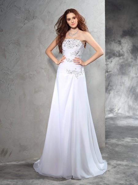 Sheath/Column Strapless Sleeveless Sweep/Brush Train Chiffon Wedding Dress with Beading