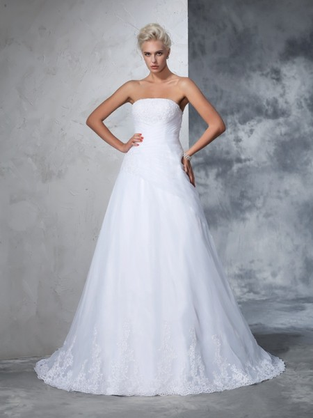 Ball Gown Strapless Sleeveless Net Court Train Wedding Dress with Applique