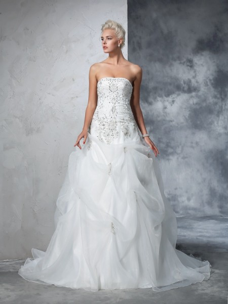 Ball Gown Sleeveless Strapless Tulle Chapel Train Wedding Dress with Beading