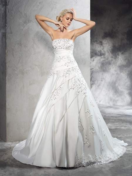 Ball Gown Strapless Sleeveless Court Train Satin Wedding Dress with Beading