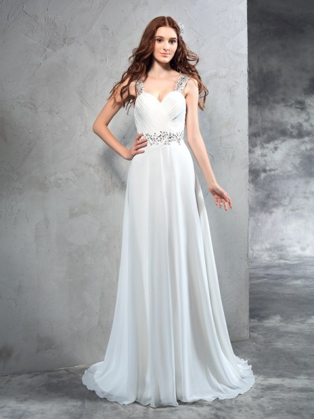 A-Line/Princess Sweetheart Sleeveless Sweep/Brush Train Chiffon Wedding Dress with Pleats