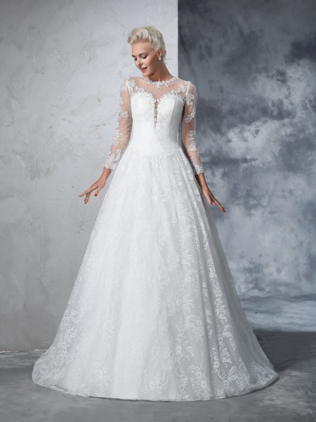 Ball Gown Long Sleeves Jewel Court Train Wedding Dress with Lace