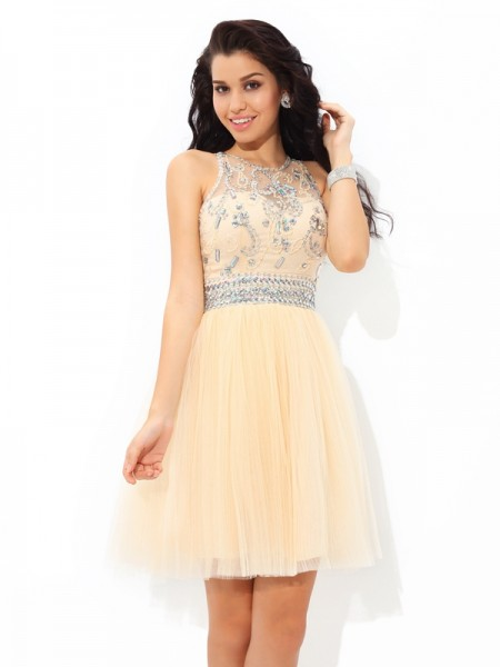 A-Line/Princess Sheer Neck Short/Mini Net Cocktail Dress with Beading