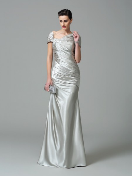 Sheath/Column Off-the-Shoulder Short Sleeves Floor-Length Silk like Satin Evening Dress with Pleats