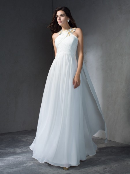 A-Line/Princess Jewel Sleeveless Floor-Length Chiffon Evening Dress